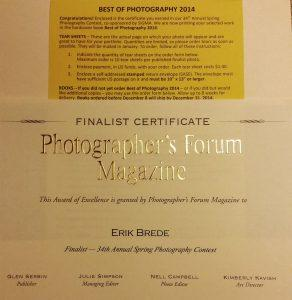 Certificate Best of Photography 2014
